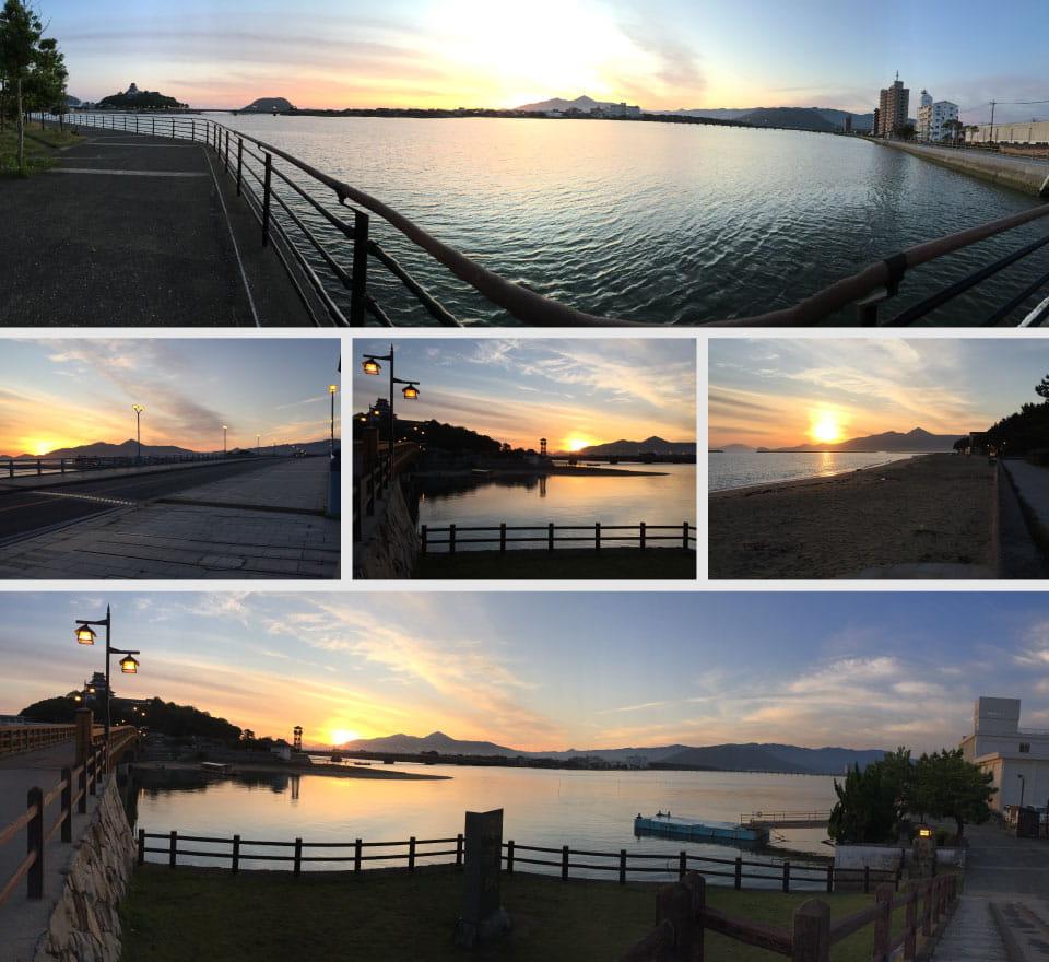 朝焼けの松浦川河畔と浜辺