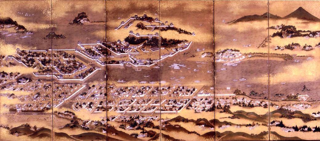 唐津城絵図が描かれた屏風